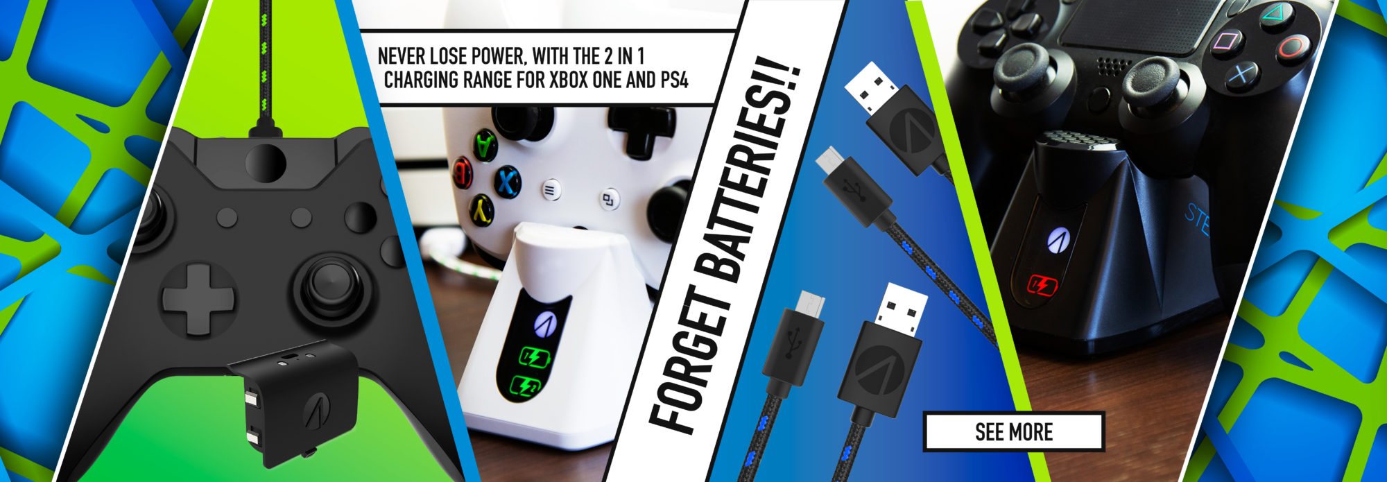 FORGET STOCKPILING BATTERIES! CHARGING SOLUTIONS FOR XBOX ONE AND PS4